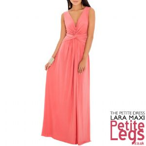 Lara Crossover Plunge Neckline Maxi Dress in Luxe Coral/ Salmon Pink | UK Size 12 | Petite Height 5ft1